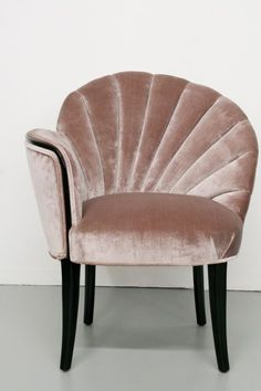I adore this piece. 1920's Art Deco Shell Back Boudoir Chairs Great accent chair idea.