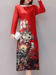 Hot saleVintage Printed O-Neck Women A-Line Dresses Cheap - NewChic Mobile
