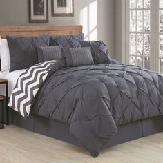 Diamond Pinched Pleated Ruffled Pintuck Comforter Set Turquoise Blue King in Home & Garden, Bedding, Comforters & Sets Queen Comforter Sets, King Comforter, Bedding Sets, Teal Comforter, Grey Bedding, Mint Bedding, College Comforter, Cotton Bedding, Bed Sets