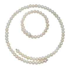 "Sterling Silver White Pearl Necklace 16"" and Bangle 7"" Set (6-7mm) Amazon Curated Collection. $29.00. Made in China. Width: 7.5 mm.. Length of necklace: 16 in. Width: 8 mm. Length of bracelet: 7 in. Save 47% Off!"