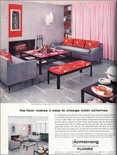 1957 Armstrong Living Room Source: Better Homes & decorating before and after room design house design House Design Photos, Cool House Designs, Home Design, Design Ideas, Design Room, Design Bathroom, Bathroom Interior, Retro Living Rooms, Living Vintage