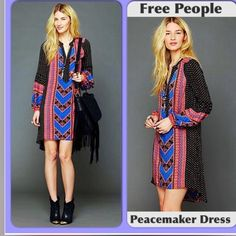 "FREE PEOPLE RARE PEACEMAKER DRESS EXCELLENT EUC Reposh bc I've never worn it!  This is a vibrant beautiful dress which has become very HTF. Although marked an XS it easily fits a S. Approximately 20"" pit to pit, high low hems 34"" and 40"" back. NO TRADES NO PAYPAL NO HOLDS PRICE IS FIRM. Free People Dresses High Low"