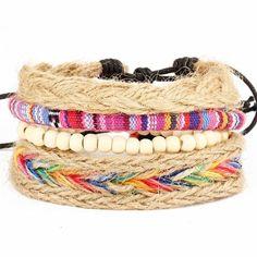 ASGARD 4 Pcs/set Handmade Multi Layers Woven Bracelets For Women Men Beads Wristband Cuff Ethnic Vintage Jewelry Bijouterie Woven Bracelets, Bracelets For Men, Leather Bracelets, Charm Bracelets, Bracelet Men, Friendship Bracelets, Mantraband Bracelets, Anchor Bracelets, Bohemian Bracelets