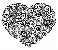 tatuaggio cuore: beautiful silhouette of the heart of lace flowers, leaves. Isolated on white. tattoo design or greeting card and invitation of wedding, birthday, Valentines Day, mothers day and seasonal holiday Tatoo Henna, Lace Tattoo, Diy Tattoo, Tattoo Mexicana, Pattern Wall, Borboleta Tattoo, Tattoo Painting, Silkscreen, Marquesan Tattoos