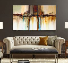 Modern brown yellow watercolor abstract hand-painted oil flowing color office original canvas wall art home decor