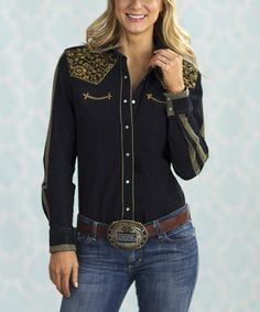 Look what I found on #zulily! Black & Gold Embroidered Nikki Button-Up - Women & Plus by Rancho Estancia #zulilyfinds