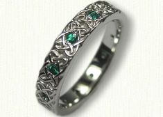 Celtic Aberlour Heart Knot Wedding Band with Chatham Emeralds - Available In All Metals wedding bands Celtic Aberlour Heart Knot Wedding Band with Chatham Emeralds Irish Wedding Rings, Gothic Wedding Rings, Wedding Ring For Him, Celtic Wedding Bands, Simple Wedding Bands, Titanium Wedding Rings, Silver Wedding Rings, Wedding Rings Vintage, Diamond Wedding Rings