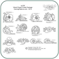 wood burning patterns free | Wood Flower Finials Pattern Package - Classic Carving Patterns