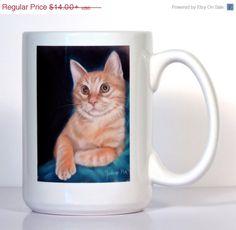 SALE Orange Cat Mug  Cat Gift  Orange Tabby Mug  by ArtByJulene