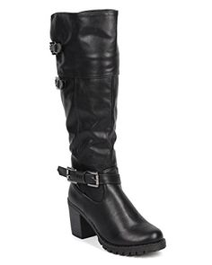 DbDk DC96 Women Leatherette Over The Knee Chunky Heel Zip Riding Boot  Black Size 85 *** Want additional info? Click on the image.(This is an Amazon affiliate link and I receive a commission for the sales)