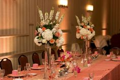 Modern Pink and Peach Centerpieces