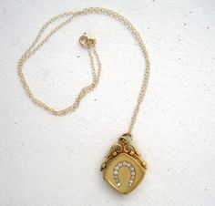 Antique Victorian Locket with Lucky Horseshoe in by springthaw