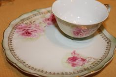 Beautiful hand painted Lefton luncheon snack plate & teacup / tennis set / snack set Filigree rose pattern, scalloped edge with a light green background and gold trim. Lovely vintage condition, no nicks, cracks, chips or crazing. Gorgeous teacup set!