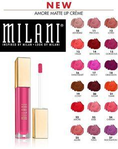 MILANI AMORE MATTE LIP CREAM CREME LIPSTICK Lip Gloss (GLOBAL FREE SHIPPING) #MILANI