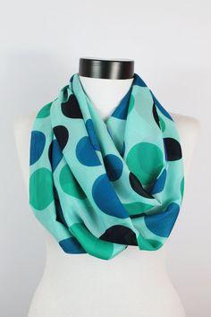 Chiffon scarfmint scarfpolka dot scarfInfinity  by twobirdsgirl, $16.90