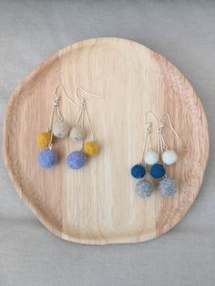 Items similar to Felt Trio Balls Earrings on Etsy Diy Jewelry, Jewelry Making, Jewellery, Unique Jewelry, Felt Projects, Diy Projects To Try, Moomin Shop, Labradorite Jewelry, Textile Jewelry