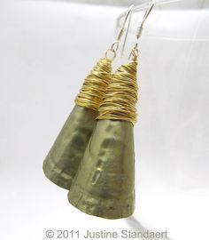 Longues boucles d'oreilles Bottlecap, Eco friendly bijoux, bijoux recyclés bottlecap, upcycled boucles d'oreilles fil enroulé dangles