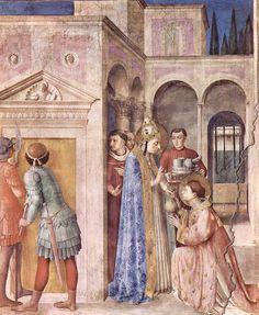 """(24) SYKSTUS II 257-258; 6 sierpnia 258, podczas odprawiania Mszy św. papież wraz z czterema diakonami zostali pochwyceni i ścięci (cesarz Walerian I). W fali prześladowań stracony został też jego uczeń Święty Wawrzyniec, zginął śmiercią męczeńska razem z uczniem Wawrzyńcem. Fresk Fra Angelico, """"Św. Wawrzyniec otrzymuje majątek Kościoła"""", 1447–1450 Cappella Niccolina, Watykan. Fresk powstał na zamówienie papieża Mikołaja V i dekorował jego prywatną kaplicę, zwaną dziś Cappella Niccolina."""