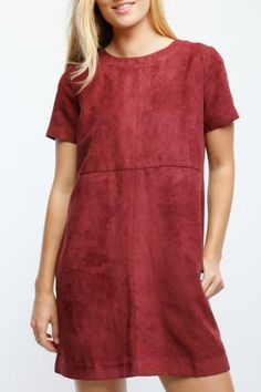 Burgundy suede shift dress, short sleeve, and ties up the back. We love that this dress has pockets and can be worn for any occasion.   Burgundy Suede Dress by Lumiere. Clothing - Dresses Washington