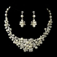 "No bridal ensemble is complete without a fabulous #jewelry set. Tie together your wedding day look by wearing this enchanting choker bridal #necklace and earrings set as you say ""I do""! StressAwayBridalShop.com"