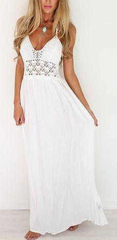 #summer #outfits White Crochet Maxi Dress