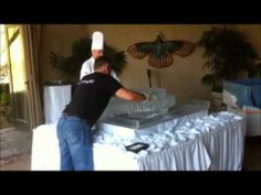 Sculptor Timm Bennett at work setting up an ice wedding cake. Watch the video at our website. It's fun. Ice Logo, Ice Magic, Food Displays, Ice Sculptures, Wedding Cake, Website, Watch, Fun, Pie Wedding Cake