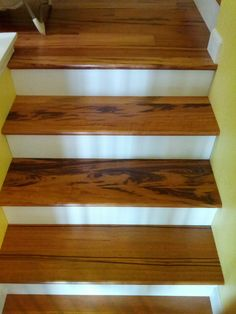 Tigerwood Hardwood Stairs installed by Precision Flooring. Visit http://www.prefloors.com/ for a FREE estimate today! #hardwood #flooring #decor #design