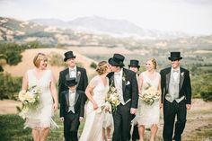 1920s Gatsby Wedding Party - Groomsmen + Bridesmaids.   Read more - http://www.stylemepretty.com/2013/12/27/1920s-inspired-healdsburg-wedding/