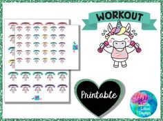 Uli Unicorn - Workout printable planner stickers, fitness, diet, workout, weight training, gym, erin condren, happy planner, kawaii