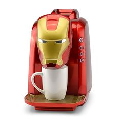 Marvel Iron Man Single Serve Coffee Maker:Brew coffee capsules or ground coffeeChoose 6 8 or 10 ounce brew ounce removable water tankRemove the drip tray to fit taller mugs - Coffee Maker - Ideas of Coffee Maker Men Coffee, Coffee Cups, Coffee Plant, Coffee Creamer, Coffee Drinks, Coffee Shop, Disney Gifts For Adults, Iron Man Face, Kitchen Gadgets