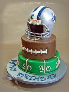 """Vintage+""""Dallas+Cowboys""""+football+cake+-+First+time+trying+the+antique+look.+I+really+liked+the+way+it+turned+out."""