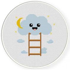 Cloud Ladder Cross Stitch Illustration