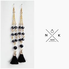 "ɴᴋᴍ ᴀᴄᴄᴇssᴏʀʏ (@nkmaccessory) στο Instagram: ""Σκουλαρίκια με μαύρα γυάλινα κρύσταλλα #accessories #jewelrydesign #jewellerylover #beautiful…"""