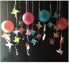 Decoration with paper craft ( latern or lampion paper join with pinwheel - origami paper ) so simple and colorful . -outletkyta-