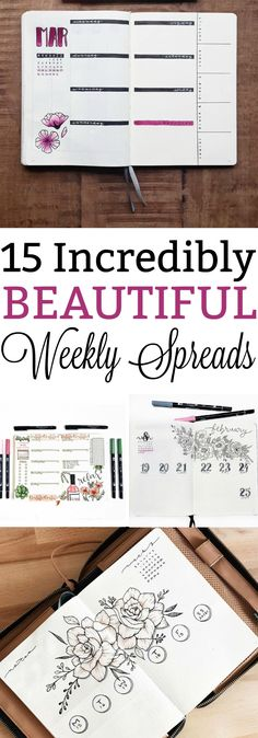 15 Incredibly Beautiful Weekly Spreads to try in Your Bullet Journal
