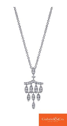 This gorgeous 14k White Gold Diamond Necklace by Gabriel & Co. is absolutely so unique and intricate! This lovely necklace resembles a chandelier. Pick this amazing necklace for your special fairy tale wedding!