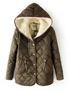 Green Hooded Long Sleeve Zipper Pockets Coat