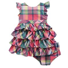 NWT Ralph Lauren Baby Girls Polo Tiered Plaid Madras Party Dress & Panty Set #RalphLauren #DressyPageantWedding