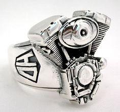 Motorcycle Engine Sterling Silver Biker Ring by Bikerringstore