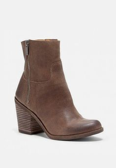 Women's Dark Earth Leather 2 3/4 Inch Leather Boot