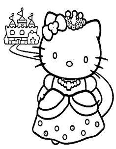 Kitty And A Nice Castle Coloring Page - hello kitty Coloring Pages ...