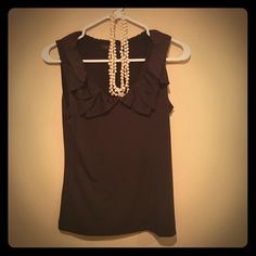 The Limited Dressy Tank Top! Dark brown dressy tank with a ruffled collar. Great top for the office! The Limited Tops Blouses