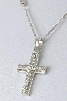 Σταυρός βάπτισης λευκόχρυσος με αλυσίδα, 14 καράτια, κορίτσι, Κωδικός WS248