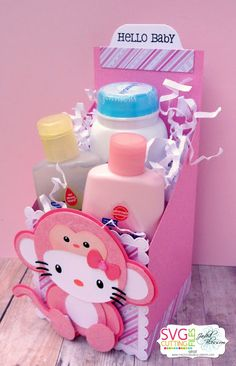 Hello Kitty Baby Shower, Hello Kitty Birthday, Baby Girl Shower Themes, Baby Shower Gifts, Hello Kitty Gifts, Baby Baskets, Silhouettes, Baby Crafts, New Baby Gifts