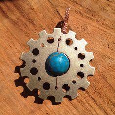 2in Steampunk Earth gear and blue gold by QuailHollowForgings