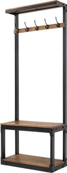 Layne Hall Stand, Black and Mango Wood Hallway Storage Bench, Diy Storage, Coat Rack Bench, Hallway Storage, Diy Storage Bench, Living Room Bench, Diy Wood Bench, Entryway Storage, Rustic Storage