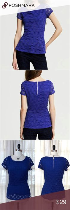 NEW LISTING💜BR cobalt blue lace peplum top Size 10. Banana Republic lace overlay peplum shirt. Rear zipper. Sleeveless lining. Polyester, spandex. EUC (3.11.0)  💟Fast 1-2 day shipping 💟Reasonable offers accepted 💟Purchase 3 or more items & get a special bundle rate!  💟Smoke-free home Banana Republic Tops Blouses