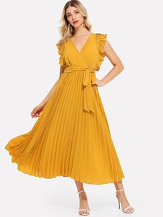SHEIN Yellow Ruffle Trim Pleated Wrap Dress Casual Elegant V Neck Short Sleeve Shift Dresses Women Flounce Sleeve Summer Dress Belted Dress, Chiffon Dress, Shift Dresses, Pleated Dresses, Party Dresses, Wrap Dresses, Casual Summer Dresses, Dress Casual, Ruffle Trim