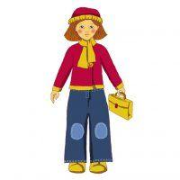 Une poupée de papier en tenue de rentrée des classes, à télécharger et imprimer gratuitement // Paper doll with school clothes, free download and print.