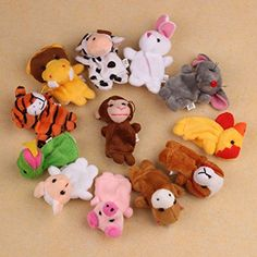 FEITONG(TM) 12Pcs Chinese Zodiac Soft Animal Puppet Finger Toys Plush Toys * Be sure to check out this awesome product. (This is an affiliate link) #Puppets